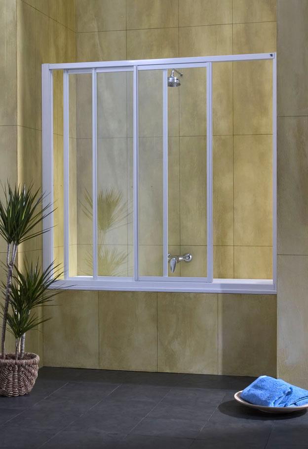 Mampara baño Aqua aluminio plata mate 120 cm. 3 puertas acrílicas delizantes