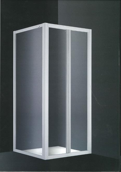 Mampara Tecnoplus frontal ducha 74x185 cm. 2 puertas abatibles aluminio blanco cristal transparente 8 mm.