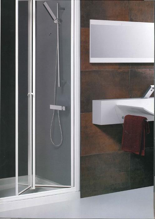 Mampara Boreas Frontal ducha aluminio blanco 2 puertas acrilicas plegables 80 cm.