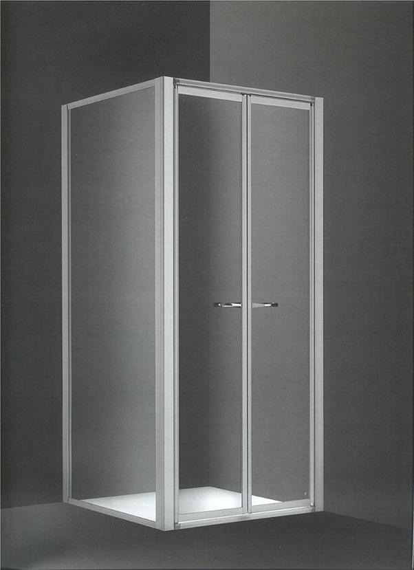 Mampara Tecnoplus frontal ducha aluminio blanco 2 puertas cristal transparentes 8 mm. batientes segurizadas 80x185 cm.