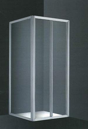 Mampara Boreas Vértice ducha aluminio blanco 2 puertas acrilicas plegables 80 cm. + lateral fijo