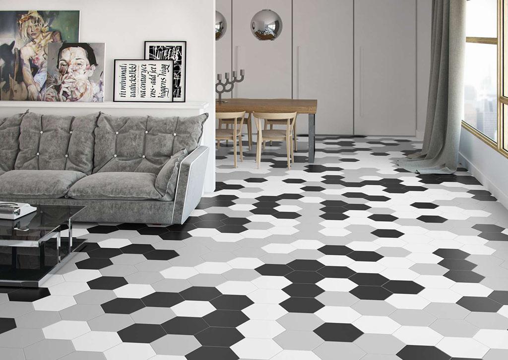 Pavimento Porcelánico Argila Origami referencias hexagonales 25,8 x 30cm. Peronda