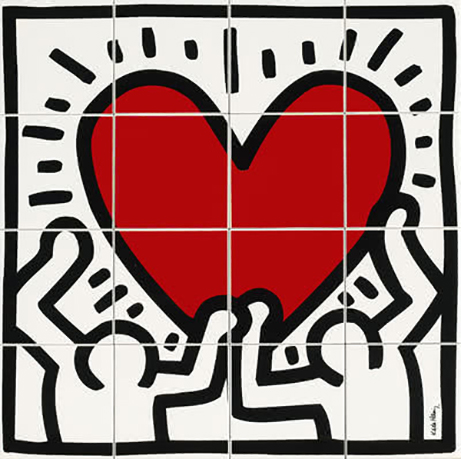 Ascot KEITH HARING Corazón 80x80 cm. GFKHD00L
