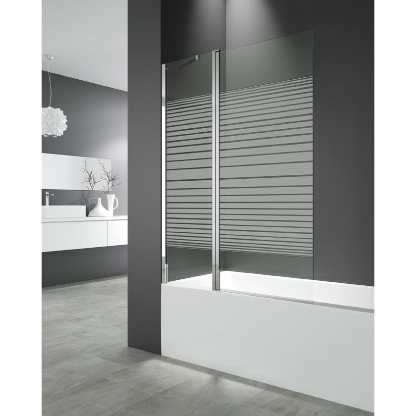 Cristal abatible bañera Fijo+Puerta 150x122 cm trazos segurizado GME