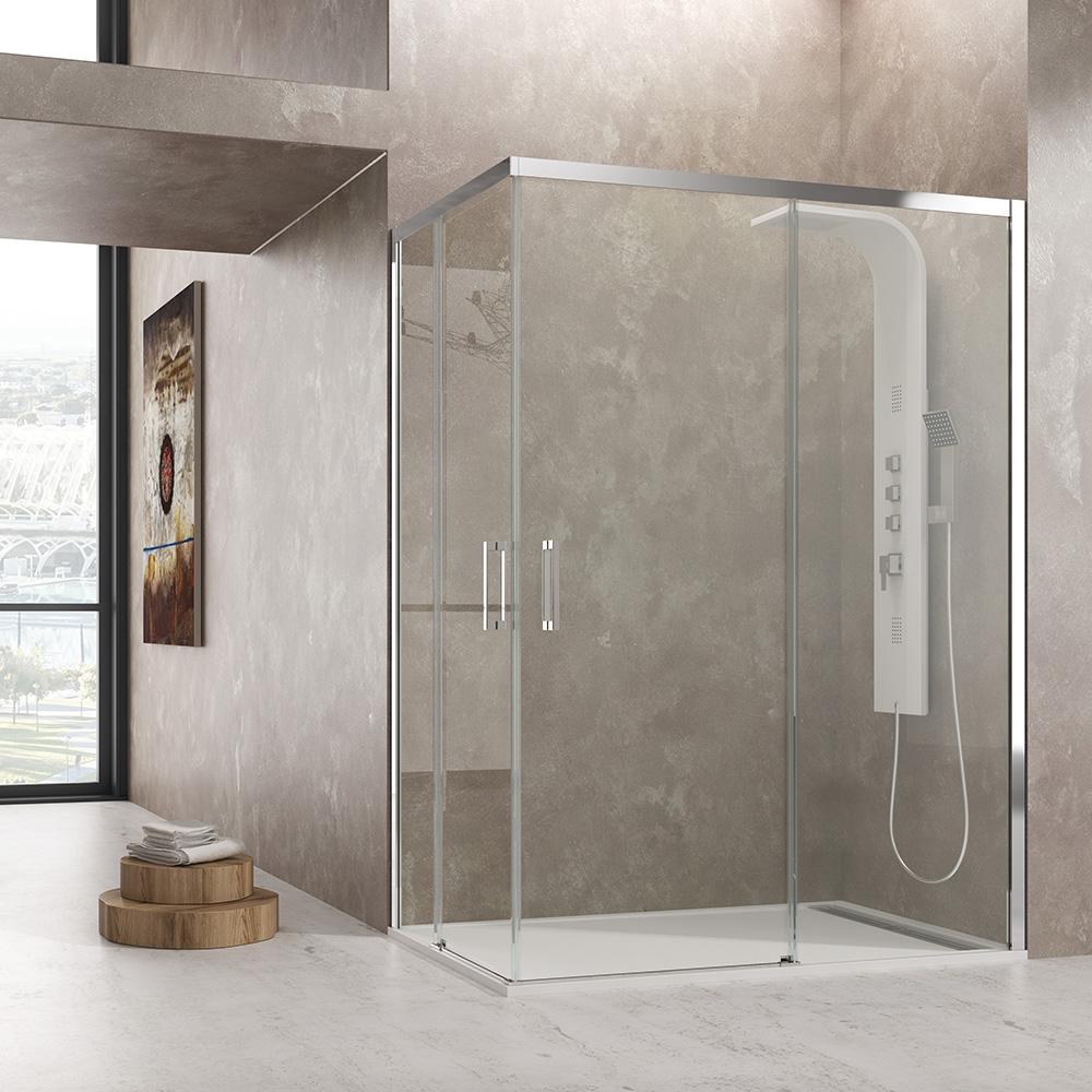 Mampara de ducha angulo AKTUAL 2 fijos + 2 correderas cristal Segurizado GME
