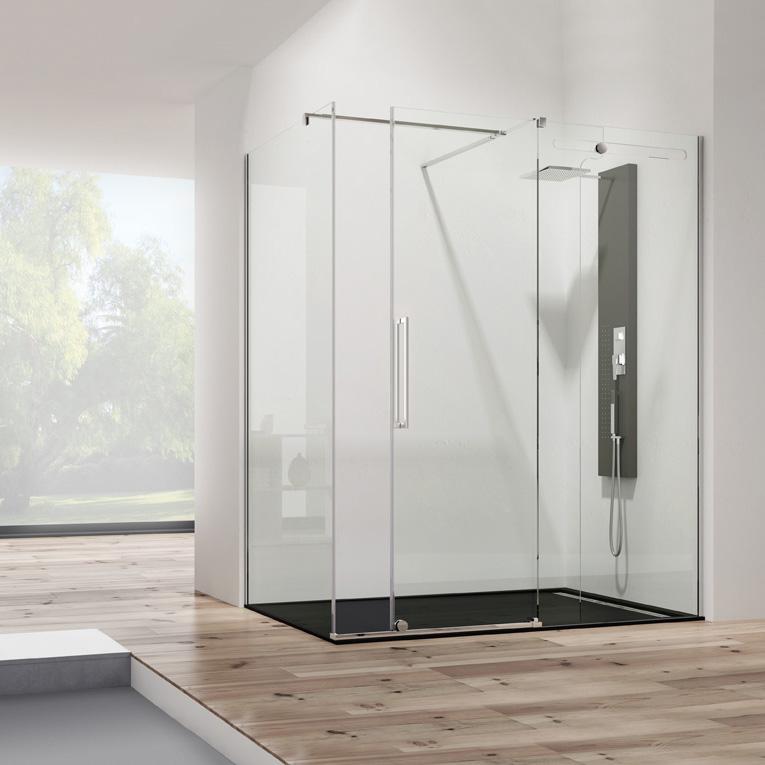 Mampara de ducha angulo Vetrum inox  2 fijos + 1 corredera cristal Segurizado 10/8 mm. GME
