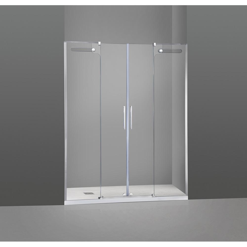Mampara de ducha Vetrum inox frontal 2 fijo + 2 correderas cristal Segurizado 10/8 mm. GME